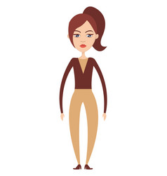 girl in pants on white background vector image