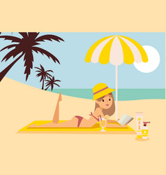 girl is resting on beach under umbrella read book vector image