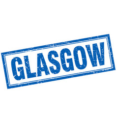 Glasgow blue square grunge stamp on white vector