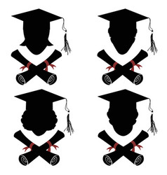 graduated people head with diploma icon vector image