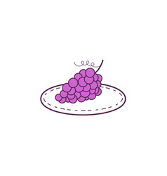 grapes on plate mono line vector image