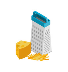 Grated cheese and grater isolated food vector