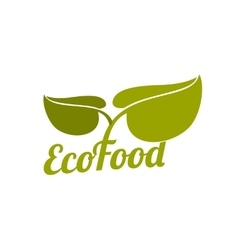 Green eco food logo with leaves vector