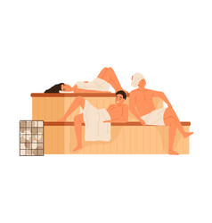group people relaxing in public sauna or banya vector image