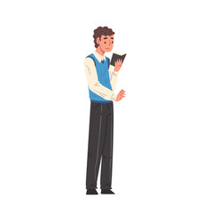 Guy standing and reading book male student vector