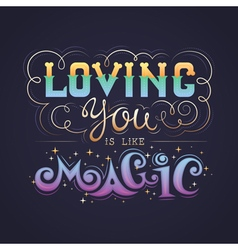 Hand lettering love quote calligraphic card vector