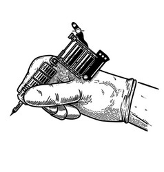 hand with tattoo machine design element for vector image