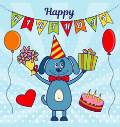 happy birthday greeting card a cartoon dog with a vector image
