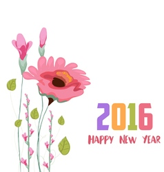 Happy new year 2016 Painted watercolor card with vector