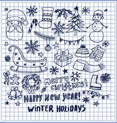 Happy new year winter holidays hand drawn elements vector