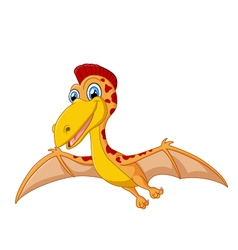 Happy pterodactyl cartoon vector image