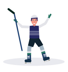 ice hockey player stick and arms up skating goal vector image