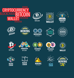Icon set for cryptography vector