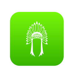 indian headdress icon digital green vector image