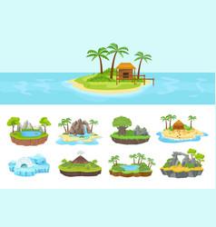 islands set isometric tropical arctic island vector image