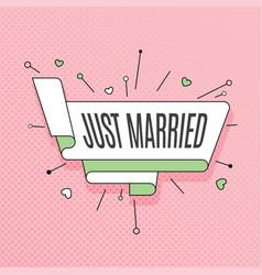 Just married retro design element in pop art vector