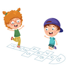 Kids playing hopscotch vector