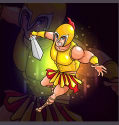 Knight with golden armor esport logo design vector