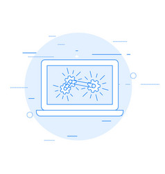 laptop and gear mechanism - computation vector image
