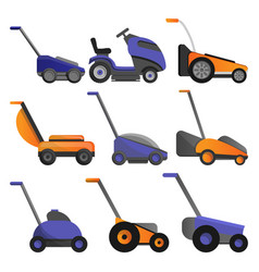 Lawnmower icon set cartoon style vector