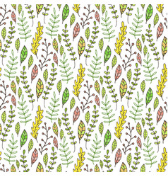 leaves and branches seamless pattern hand drawn vector image