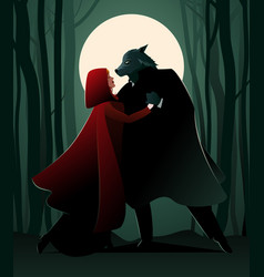 Little red riding hood and the wolf dancing vector