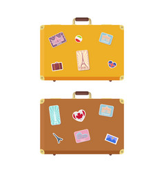 luggage journey time to travel icons set vector image