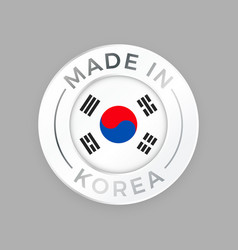 made in korea quality seal flag circle stamp vector image