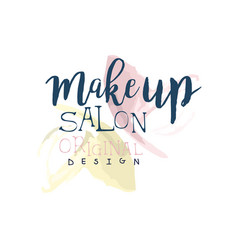 make up salon original logo design label for vector image