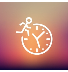 Man running on time thin line icon vector image