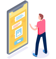 man typing on smartphone sms messages chat and vector image