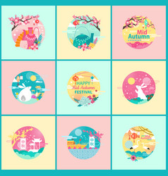 mid autumn festival posters vector image