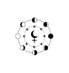 moon phases and lilith black moon icon isolated vector image