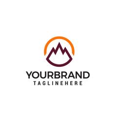 mountain circle logo design concept template vector image