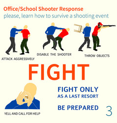 office school shooter response tips vector image