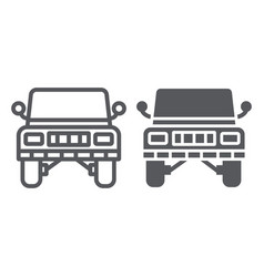 offroad car line and glyph icon transportation vector image
