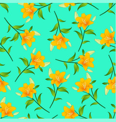 orange lily on green mint background vector image