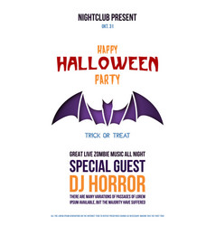 origami flyer with bat for halloween celebration vector image
