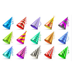 Paper birthday party hats isolated funny caps for vector