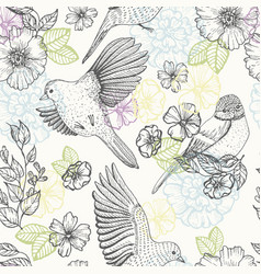 pattern with birds and flowers vector image