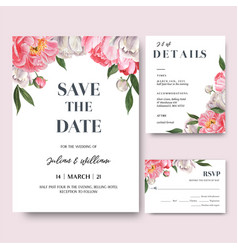 Pink peony flowers watercolor bouquets invitation vector
