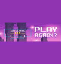 Play again pixel art cartoon web banner for game vector