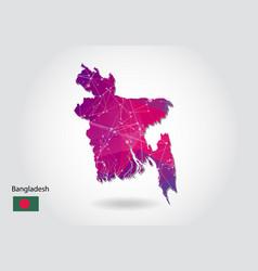 Polygonal bangladesh map low poly design map made vector
