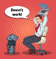 Pop art angry businessman crashes laptop vector