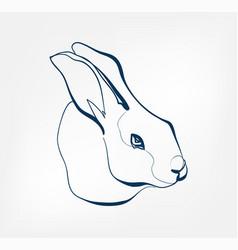 rabbit animal wild one line design vector image