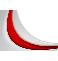 Red and grey abstract smooth wavy background vector