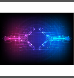 Red blue circuit digital technology background vector