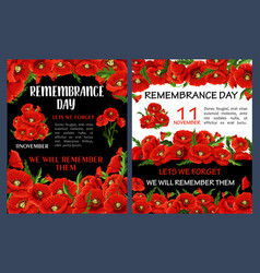 Remembrance day poster with red poppy flower frame vector
