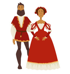 renaissance style couple man and woman ball gown vector image
