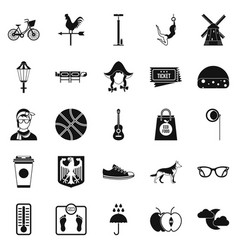 Rural icons set simple style vector